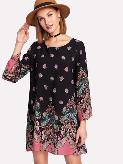 Bell Sleeve Paisley Print Tunic Dress