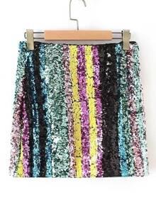Falda de rayas con lentejuela