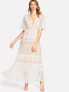 Flutter Sleeve Embroidered Dot Jacquard Dress
