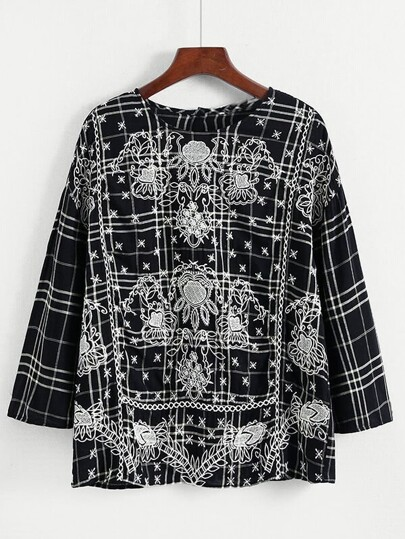 Front Embroidery Grid Blouse