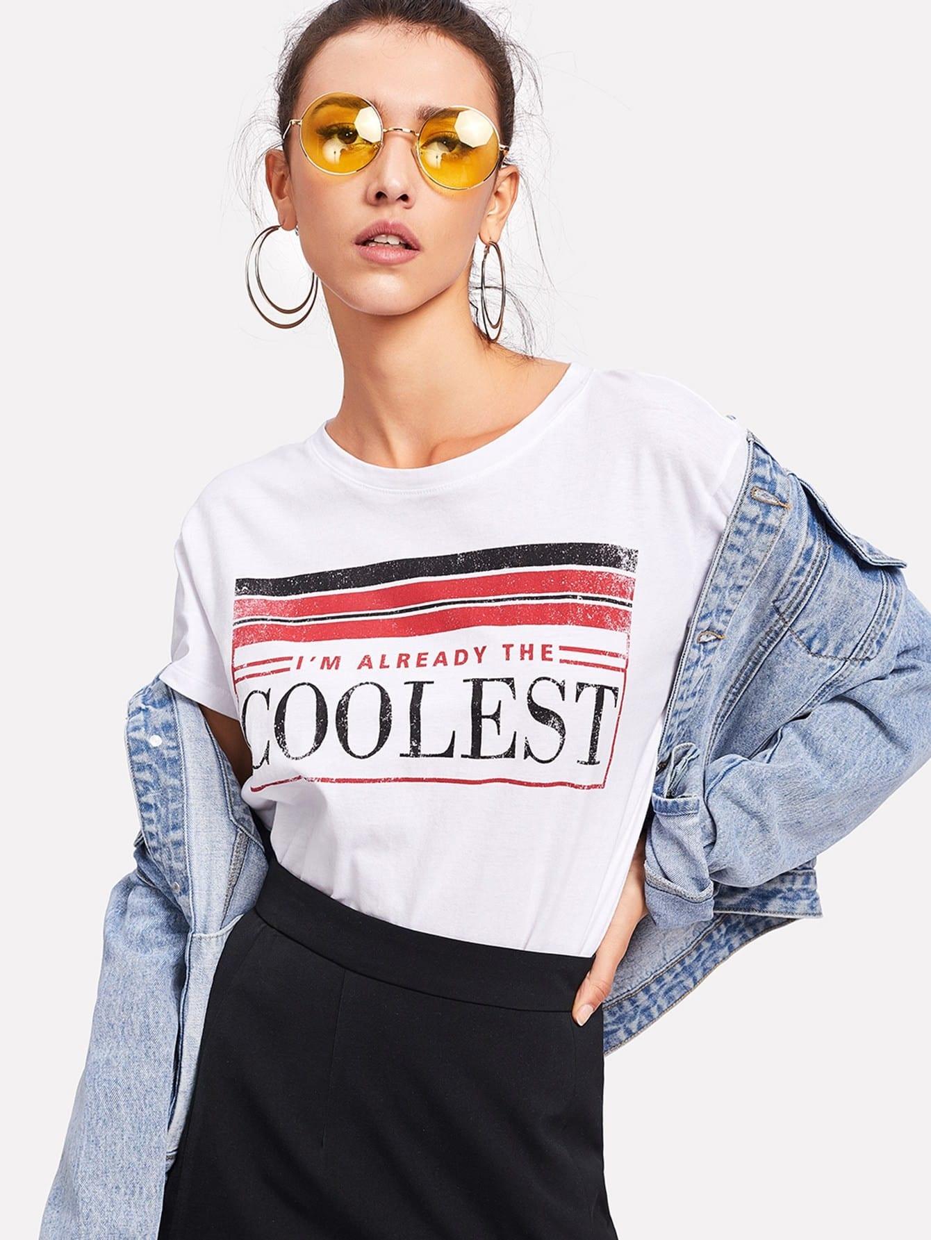 Купить Модная футболка с текстовым принтом, Camila, SheIn