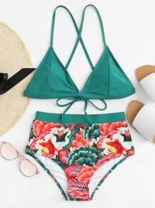 Tie Back Flower Print Bikini Set