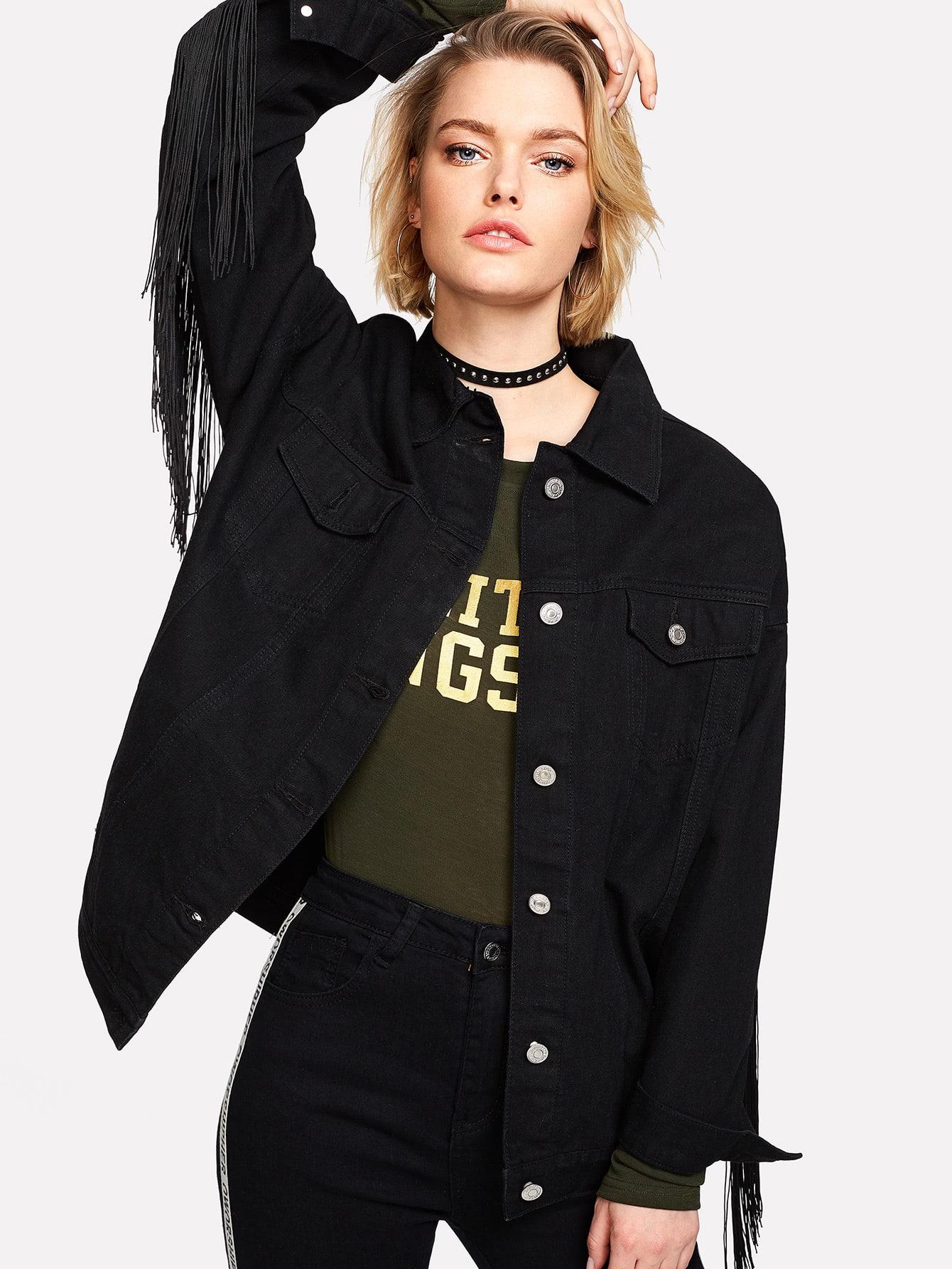 Купить Модная джинсовая куртка с бахромой, Michelle, SheIn