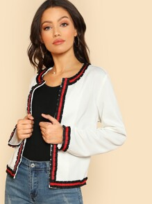 Striped Pleated Trim Blazer