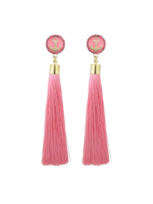 Rosa Anker Dekoration mit langen Quaste Ohrringe