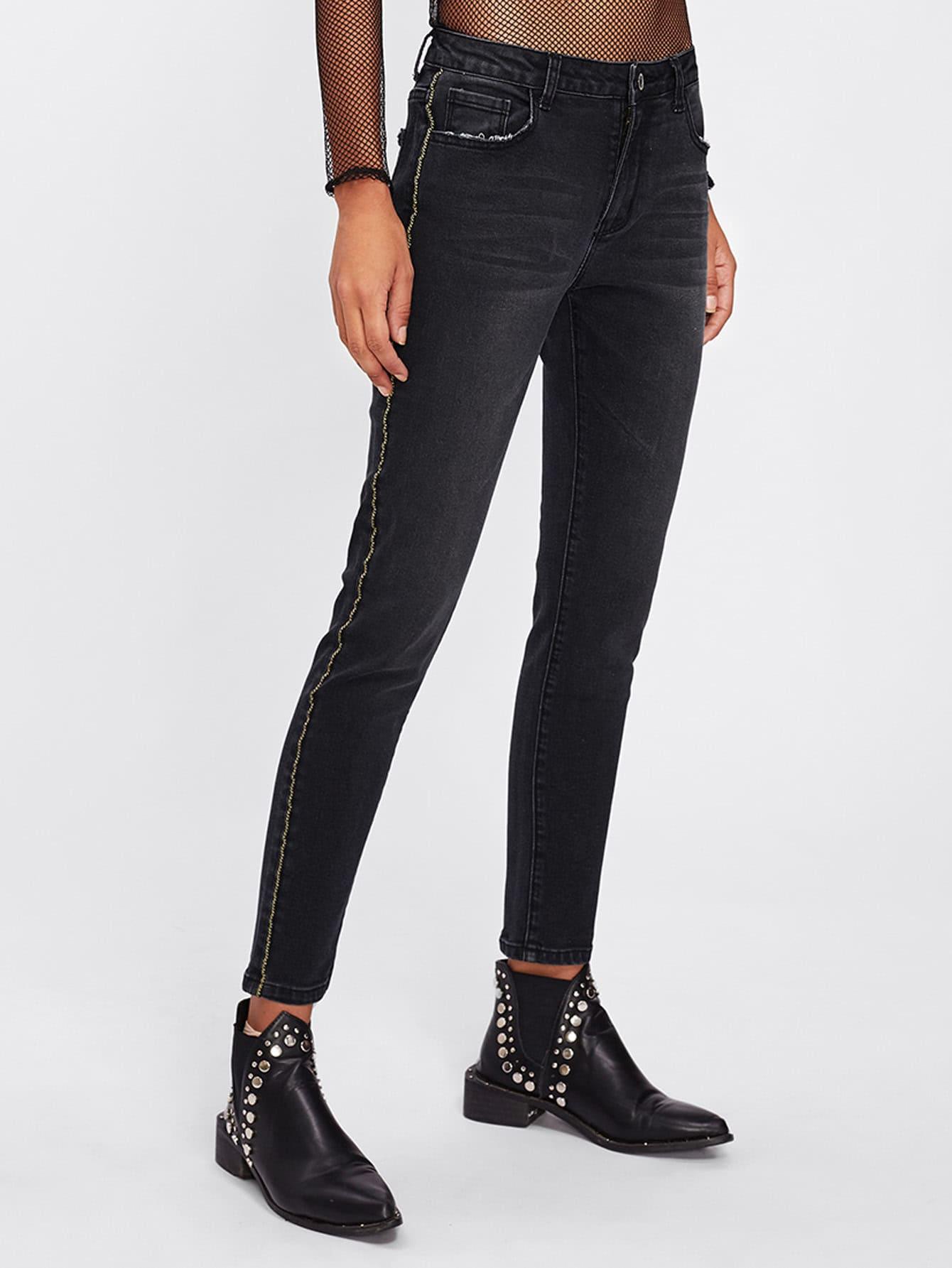 Dark Wash Tipping Detail Jeans