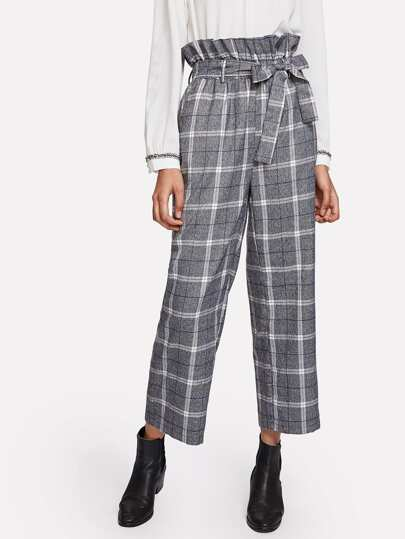 Ruffle & Drawstring Waist Plaid Wide Leg Pants
