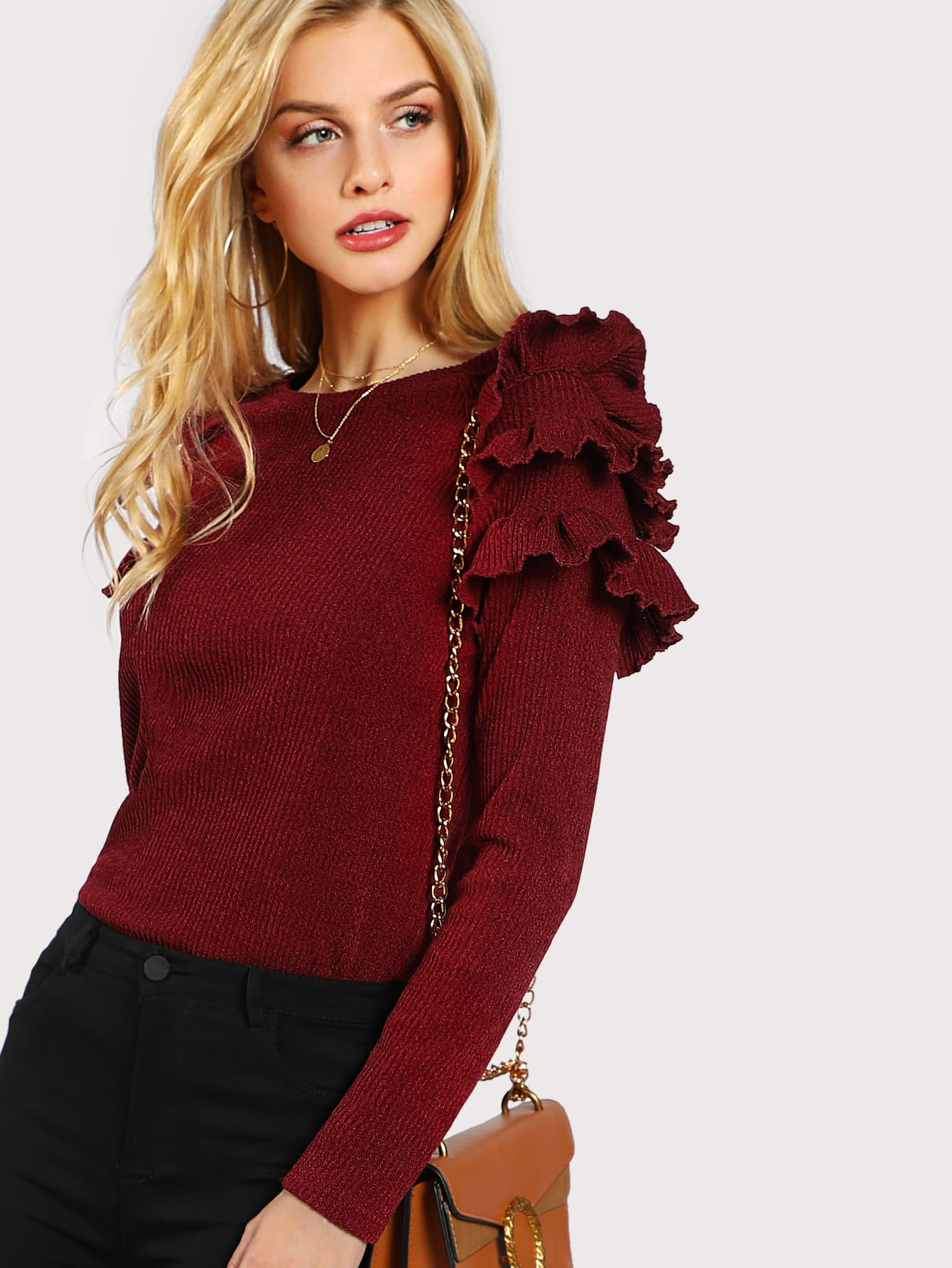 Layered Ruffle Shoulder Rib Knit T-shirt teemmc171129701