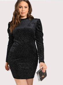 Glitter Print Long Sleeve Velvet Dress SILVER