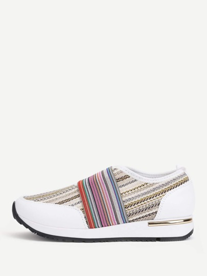 Striped Detail Woven Design Sneakers