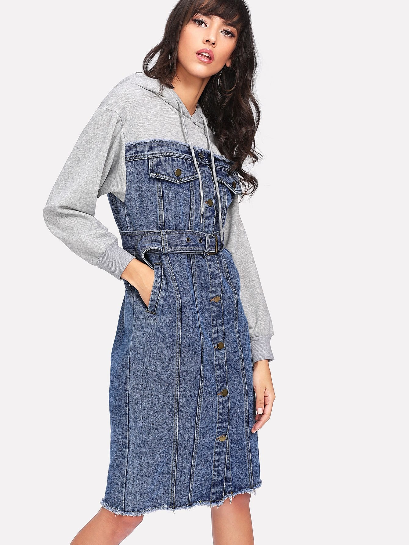 Image of Denim Panel Self Tie Waist Hooded Dress