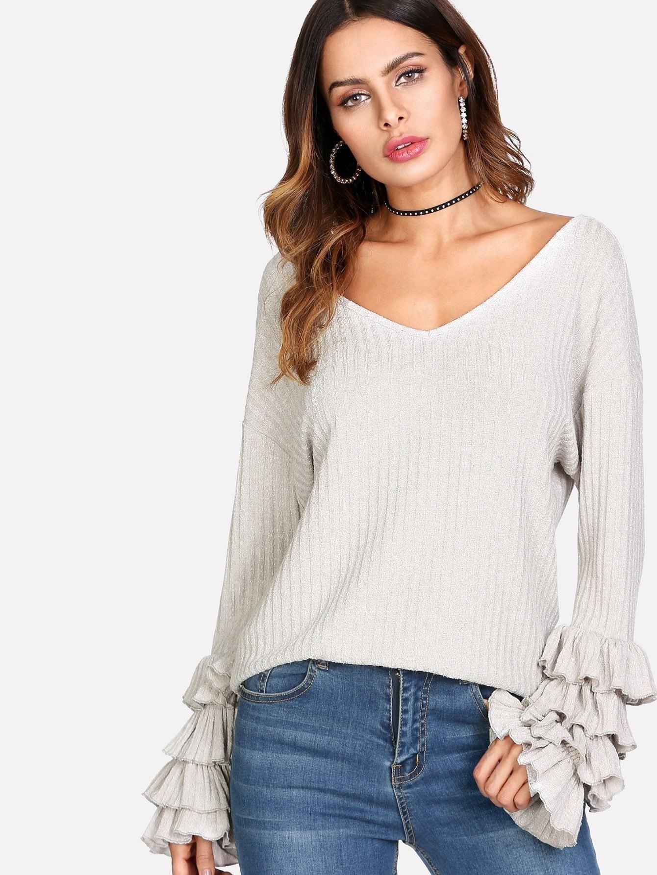Layered Ruffle Sleeve Rib Knit Tee ruffle trim sleeveless rib knit tee