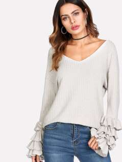 Layered Ruffle Sleeve Rib Knit Tee