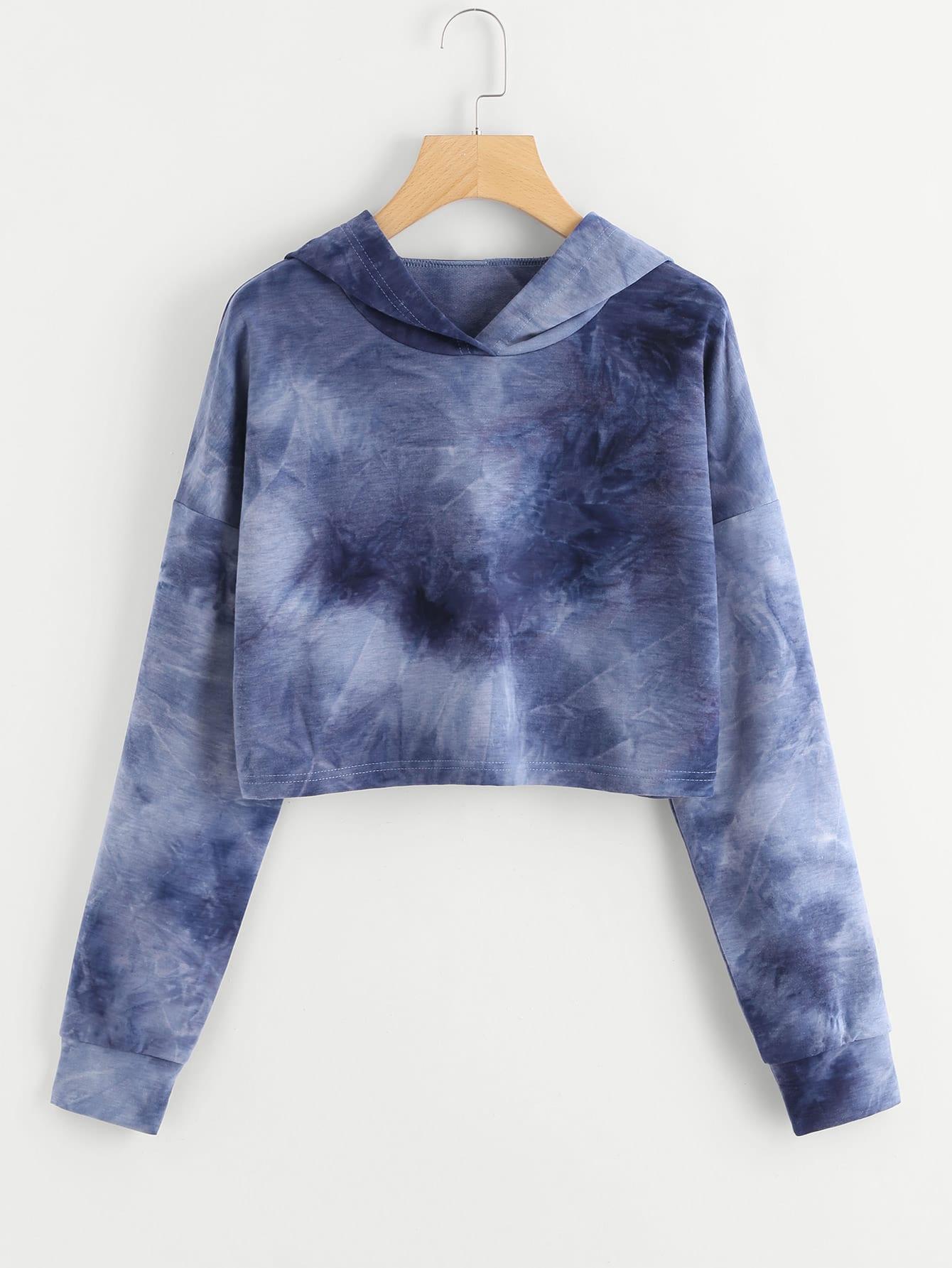 Drop Shoulder Tie Dye Crop Hoodie tie dye drop shoulder crop hoodie