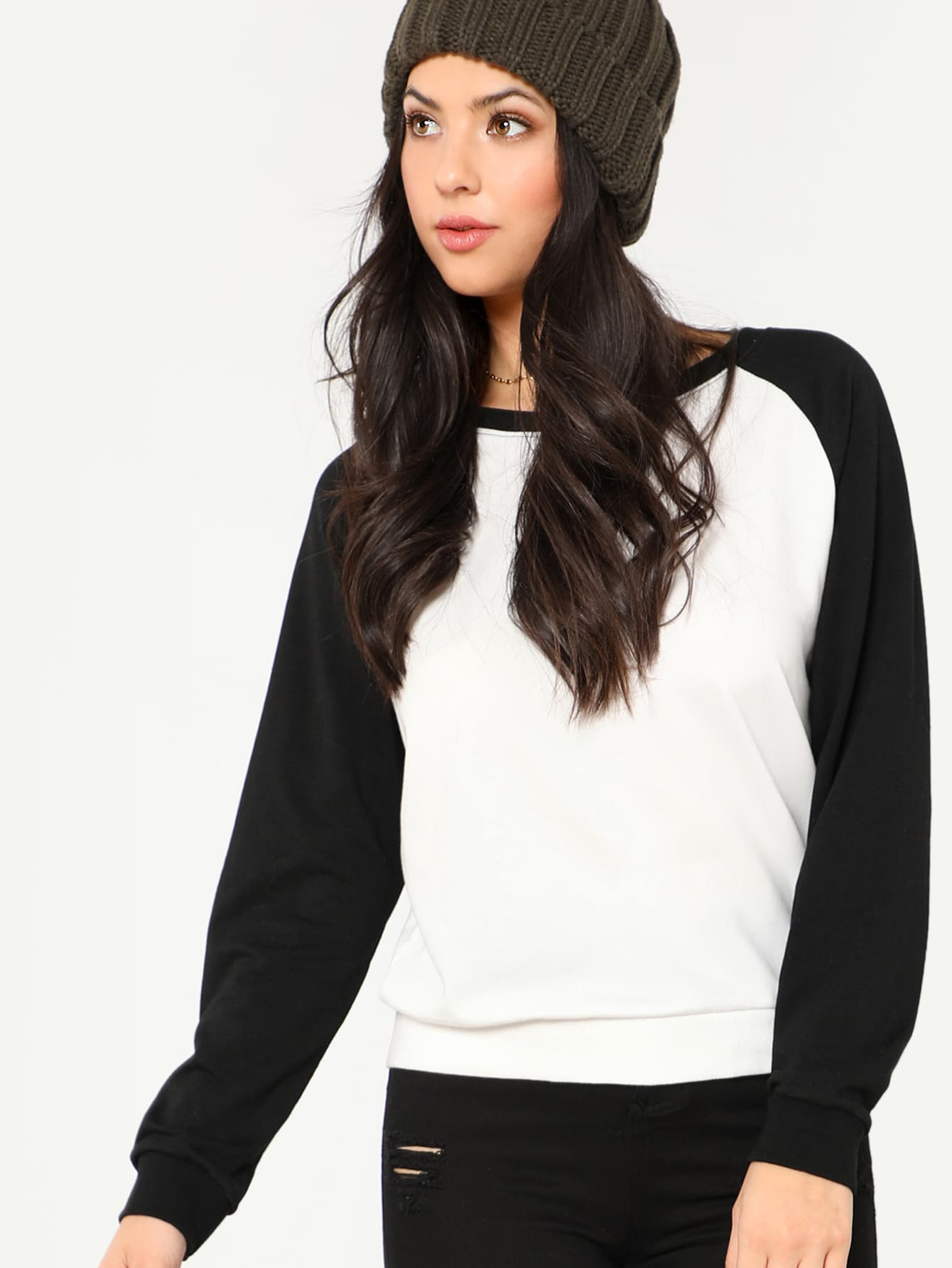 Two Tone Raglan Sleeve Sweatshirt two tone drop shoulder sweatshirt
