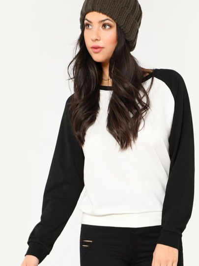 Two Tone Raglan Sleeve Sweatshirt