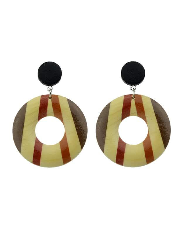 Stripe Vintage Style Wood Geometric Pattern Round Hanging Earrings