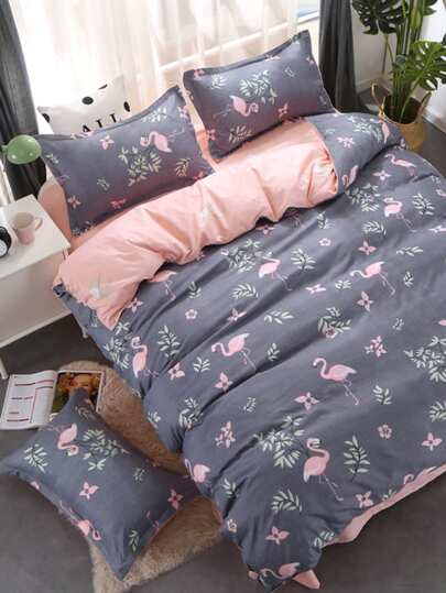 1.5m 4Pcs Flamingo & Flower Print Bedding Set