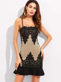 Crochet Patched Mesh Embellished Ruffle Hem Fitting Dress