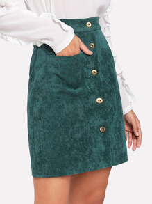 Single Breasted Dual Pocket Corduroy Skirt