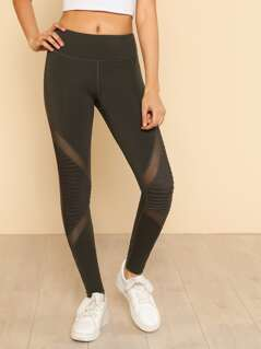 Moto Block Mesh Leggings OLIVE