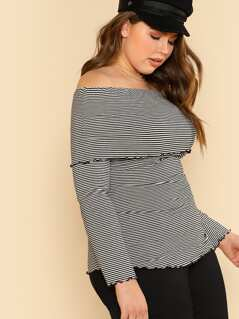 Black and White Striped Ribbed Off-Shouder Top