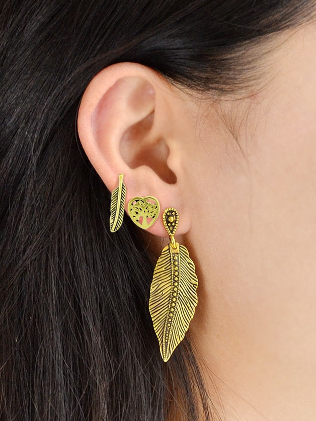 Image of 3 Pcs/Set Geometric Heart Feather Cute Earrings