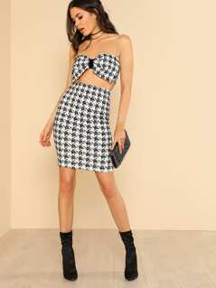 Houndstooth Bandeau Bow Bralette & Pencil Skirt Matching Set