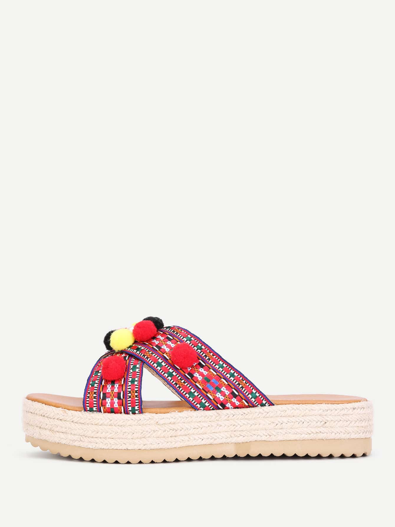 Faux Pearl & Pom Pom Decorated Flat Sandals
