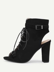 Peep Toe Lace Up High Heels