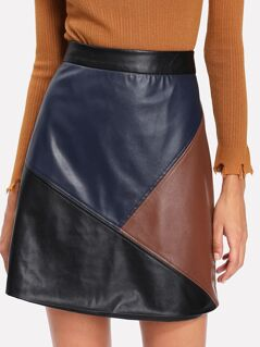 Cut And Sew PU Leather Skirt