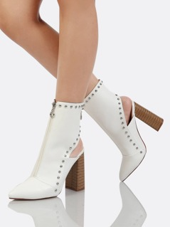 Front Zipper Stud Accent Open Back Ankle High Boots WHITE