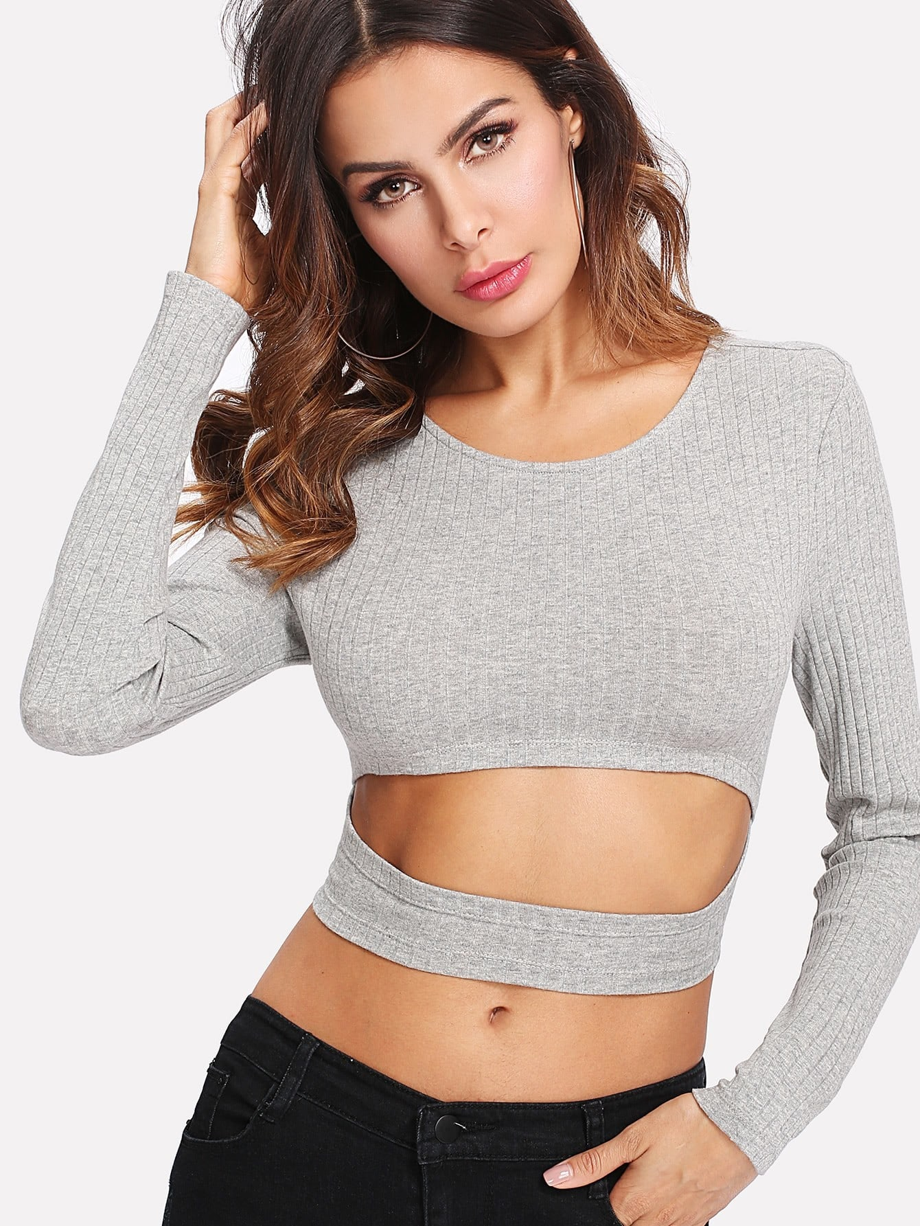 Cutout Midriff Rib Knit Heathered Tee tee171214707