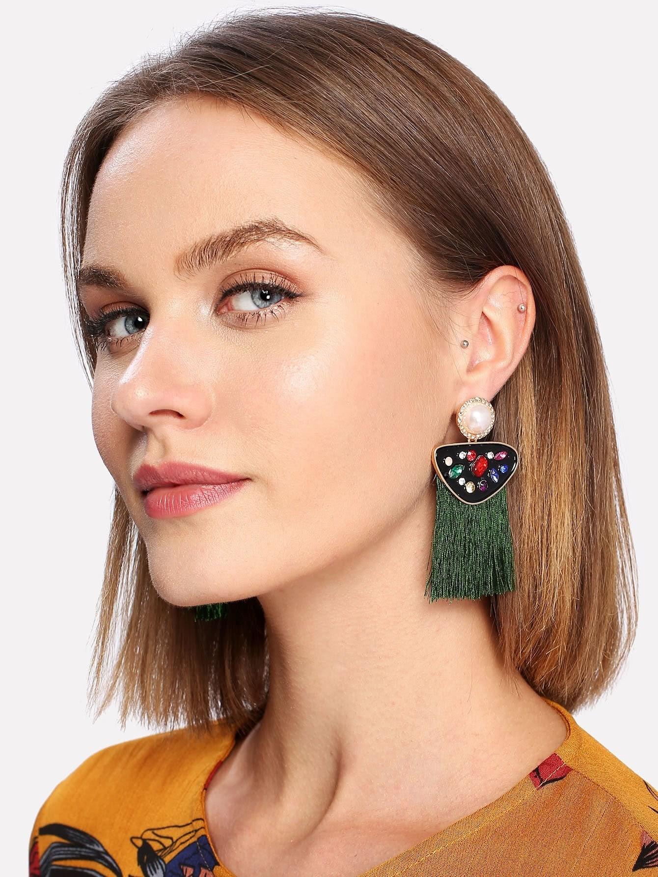 все цены на Rhinestone Top Fringe Drop Earrings