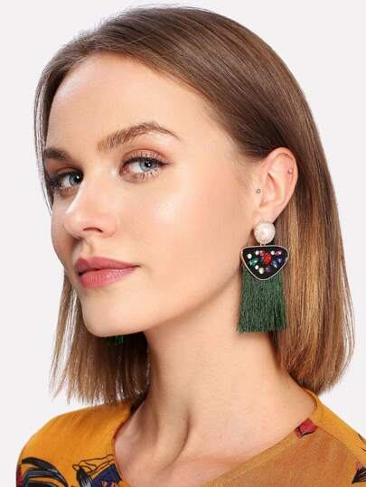 Rhinestone Top Fringe Drop Earrings