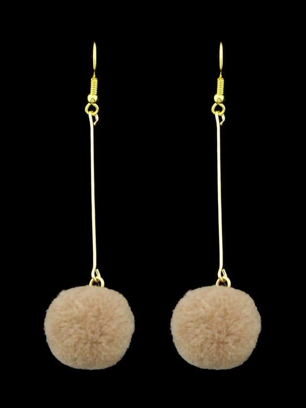 Khaki Long Chain With Ball Dangle Earrings For Women rhinestone ball hook long chain earrings