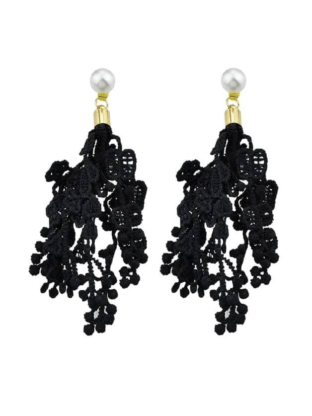 Black Hollow Out Lace Flower Pattern Geometric Drop Earrings