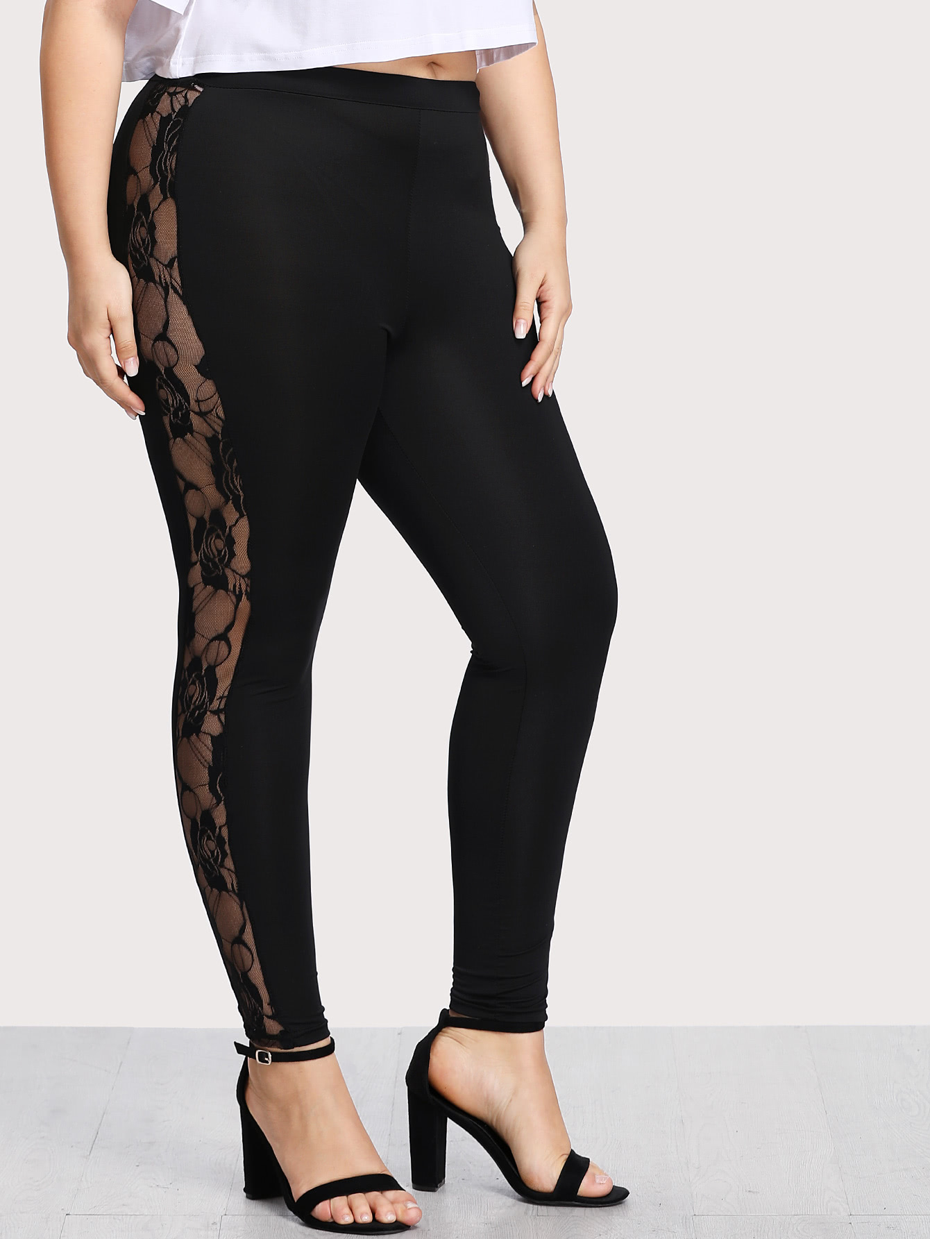 Image of Contrast Lace Leggings