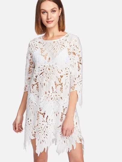 Asymmetrical Hem Hollow Out Lace Dress