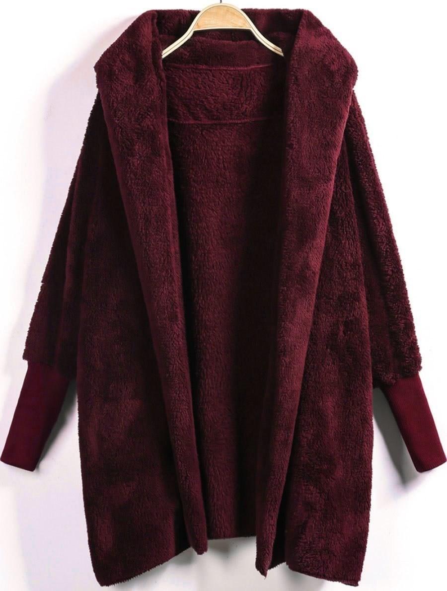 Open Front Fluffy Hooded Coat hooded letter print open front coat