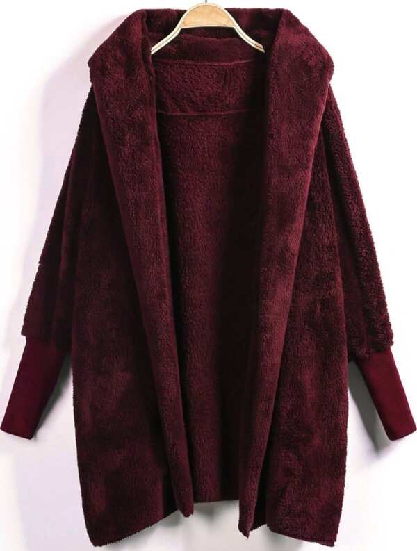 Open Front Fluffy Hooded Teddy Coat, null