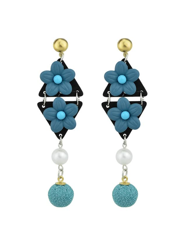 Blue Simulated-Pearl Colorful Flower Dangle Earrings