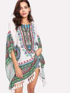 Geometric Print Tassel Trim Poncho Top