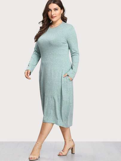 Hidden Pocket Dip Hem Dress