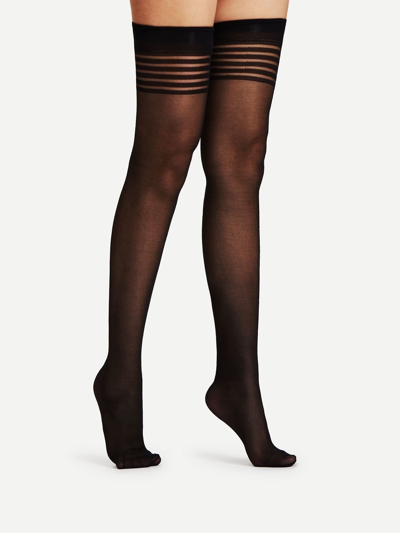 Image of 15D Over The Knee Striped Socks