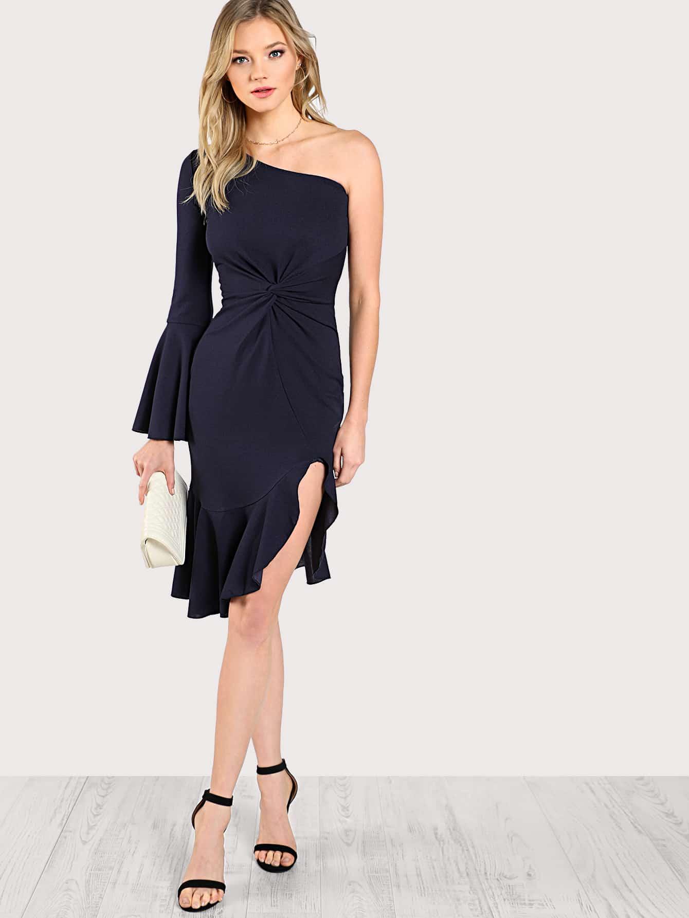 One Shoulder Twist Front Slit Ruffle Hem Dress wrap front tied v back ruffle hem dress