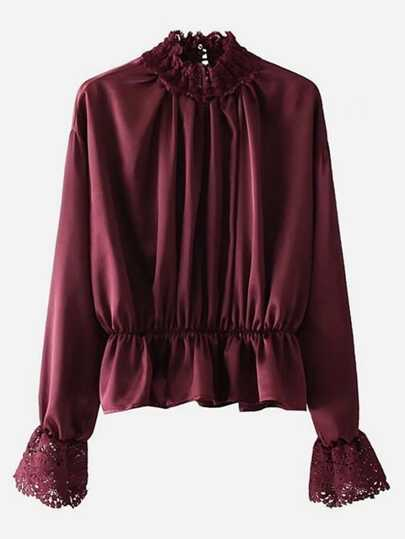 Lace Trim Satin Peplum Blouse
