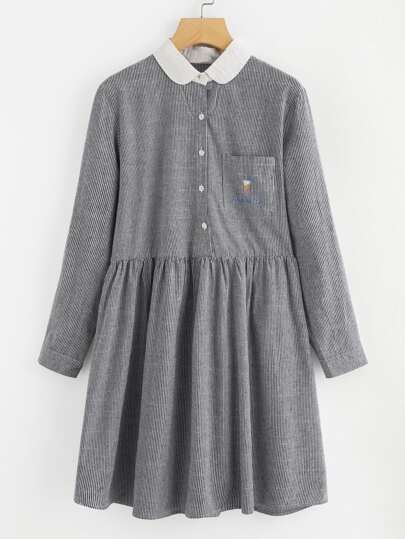 Contrast Peter Pan Collar Striped Dress