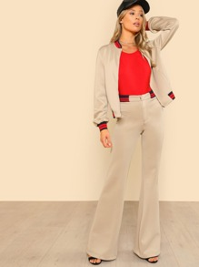 Striped Trim Front Pocket Jacket & Flared Pants Set