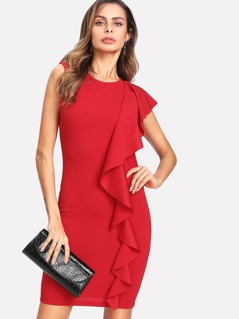 One Side Flounce Trim Dress